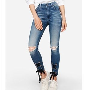 High Waisted Lace-Up Ankle Jeans/Leggings